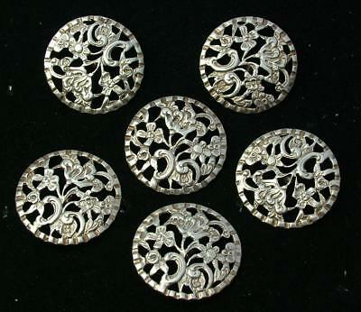 ANTIQUE LARGE 31mm SET OF 6 STERLING SILVER HM 1899 BUTTONS GOLDSMITHS - LOT 98