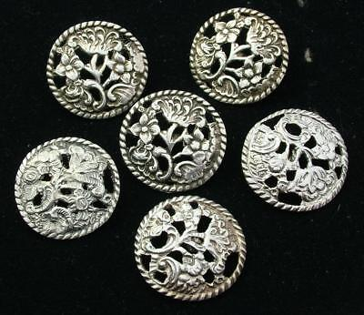 6x LARGE 28mm ANTIQUE 1901 / 02 STERLING SILVER ART NOUVEAU FLORAL BUTTON LOT 48