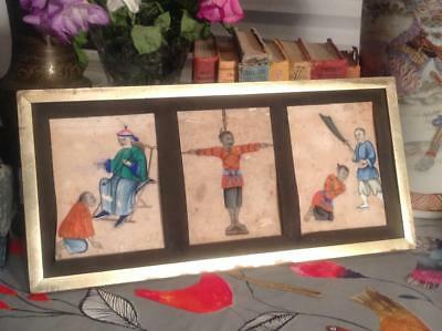 Antique 19thC. Chinese TORTURE PENALTY Rice Paper Paintings FINE Macabre v.RARE!