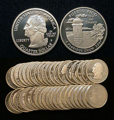 Roll of 40 2009-S Proof Puerto Rico 90% Silver Quarters