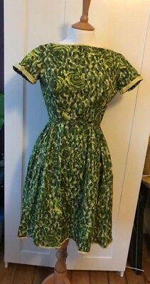 Vintage 1960s 'Alice Edwards' Cap Sleeved Greens/Yellow Cotton Dress Size S