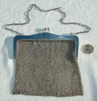 "ANTIQUE HM 1919 LARGE 6""x6"" 235g STERLING SILVER CHAINMAIL MESS LINK PURSE LOT 7"