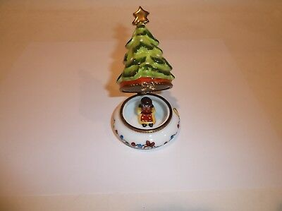 Peint Main Limoges Trinket-Christmas Tree With Gold Star