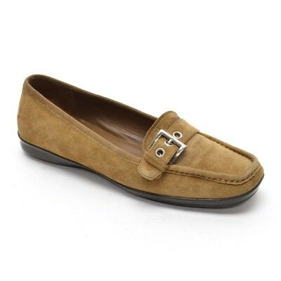 7ee1de92484 PRADA Buckle LOAFERS Womens 37   7 Tan Suede Slip On FLATS Shoes Made in  Italy