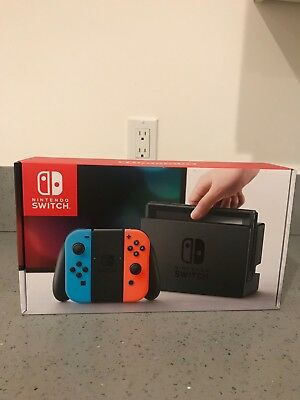 Nintendo Switch 32gb Gray Console With Neon Red and Neon Blue Joy-Con BRAND NEW