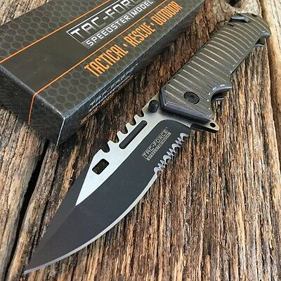 TAC FORCE Spring Assisted Open Gray SAWBACK BOWIE Tactical Rescue Pocket Knife A