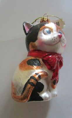 "Calico Kitty Cat Christmas Ornament 4 1/2"" high Blown Glass"