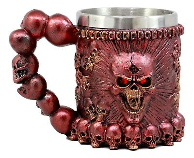 Egift Metallic Red Protruding Skull With Scary Eyes Mug Beer Stein Tankard