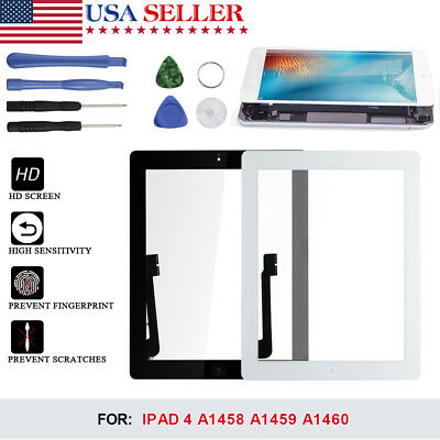 Touch Screen Glass Digitizer Replacement Adhesive For Apple iPad 4 Black / White