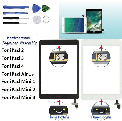 Digitizer Glass Touch Screen Replacement For Apple iPad 2 3 4 Air 1 mini 1 2 3