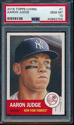 2018 Topps Living Set Card #1 Aaron Judge PSA 10 Gem Mint 40892705 NY Yankees