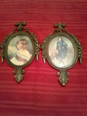 Vintage Italian Set Made Old World  Pictures Antiques .Brass. Stamped. Beautiful