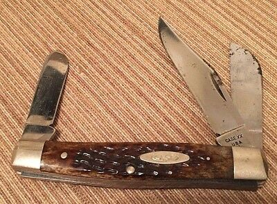 CASE XX 6392 bone stockman never sharpened but not mint. 3 dot 1977 carbon steel