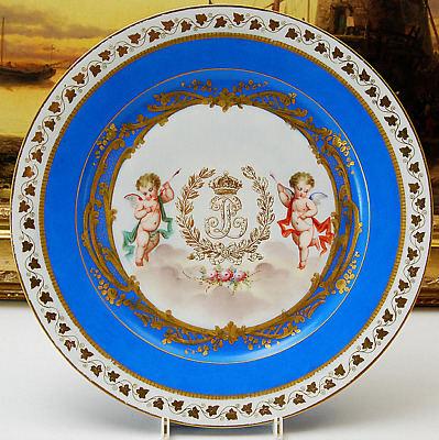 Exquisite Sevres Blue Ground Cabinet Plate