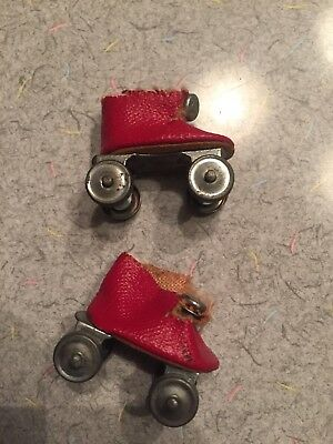 "Vintage Vogue Doll Ginny? Red Oil Cloth 8"" Doll Roller Skates - TLC, Flawed"