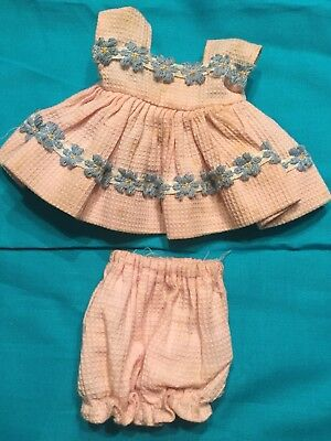 TLC Vogue Ginny Pale Sweet Baby Pink Waffle Dress Blue Flower Trim and Bloomers