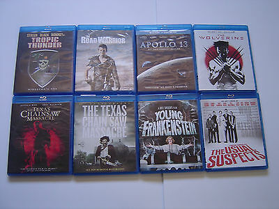 Lot of 8 Blu-Ray Movies Tropic Thunder Road Warrior Wolverine Texas Chain Saw