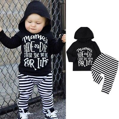 Toddler Baby Girls Boys Letter Hooded Tops Blouse Striped Pants Kids Outfits Set