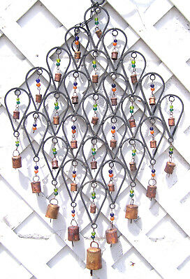 "HUGE! Vintage 24"" x 15"" Iron Metal Rustic Primitive Bell & Glass Bead Wind Chime"