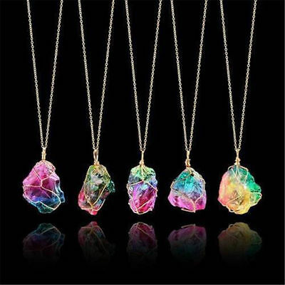 Rainbow Color Stone Crystal Chakra Rock Chain Necklace Quartz Pendant Jewelry