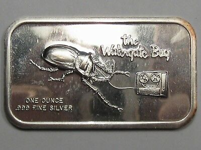 Vintage Art Bar: The Watergate Bug. 1 Troy oz .999 Fine Silver.  #8