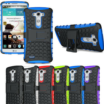 Rugged Armor Hybrid Impact Stand Case Shockproof Rubber Cover Fr LG G3 D850 D855