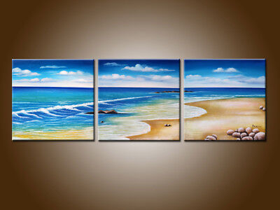 Framed Large MODERN ABSTRACT Seascape OIL PAINTING Canvas Contemporary Wall Art