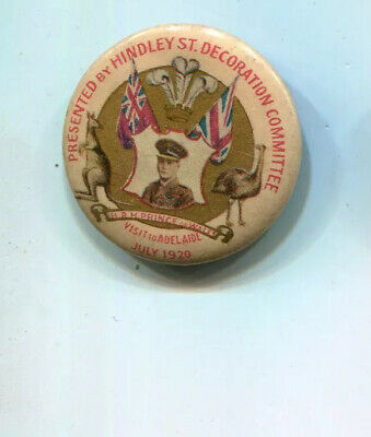 Prince of Wales Visit Australia 1920 tinplate badge Hindley St decorations