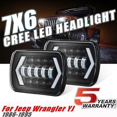 5X7 7X6'' LED Headlight Pair H4 Hi/Lo Beam Projector For Jeep Wrangler YJ 86-95