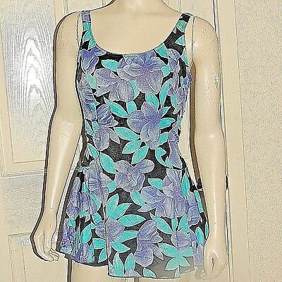 Vtg Maxine Of Hollywood Print Plus Sz 1 Pc Sissy Swim Dress Swim Suit Sz 18