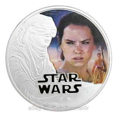 Star Wars: The Force Awakens Rey Superhero Comics Colored Silver Coin