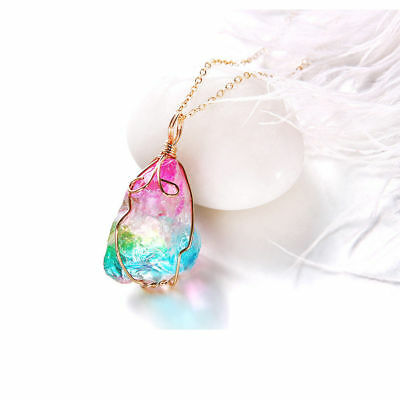 Rainbow Stone Natural Crystal Chakra Rock Quartz Pendant  Chain Necklace Jewelry