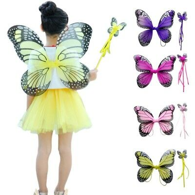 Children Girls' Butterfly Fairy Angel Wings Costume Dance Party Christmas Gifts