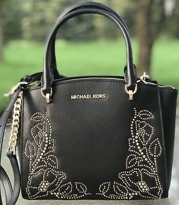 d30359dc0438d3 New Womens Michael Kors Black Studded Ellis Small Convertible Satchel  Handbag