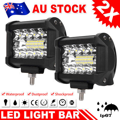 2x 4inch CREE LED Bar Work Light Spot Flood OffRoad Ford Driving Reverse 4x4