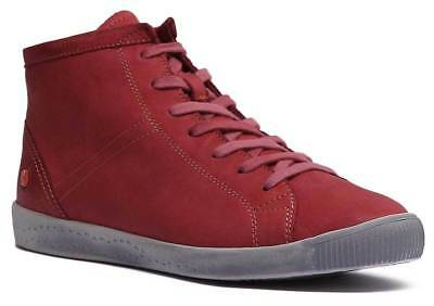Softinos Isleen Womens Soft Leather High Top Trainers In Red UK Sizes 3 - 8