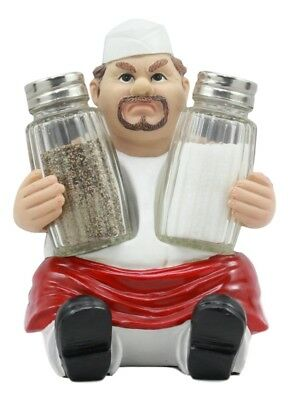 "Dirty Fat Chef Salt And Pepper Shakers Holder 6 1/8""H w/ Shakers Included"