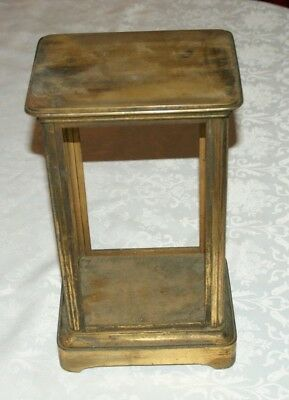 Large Antique 4 Glass Sided Brass Clock Case - Empty/No Glass