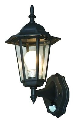 Outdoor Traditional Coach Lantern Wall Light With Pir - Black - 6 Sided