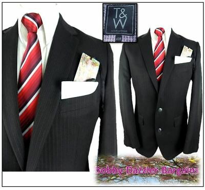 """Taylor & Wright Washable mens 2 piece suit Ch40""""R W34"""" L31"""" Dark Brown pinstripe"""
