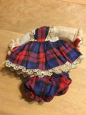 Red/navy Plaid Tagged Vogue Ginny Doll Dress And matching Panties