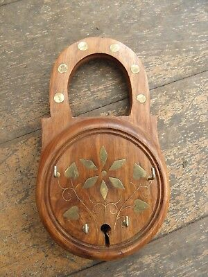Vintage Indian Hardwood Wooden Key Hook Holder Brass Inlaid Padlock Shaped Wall
