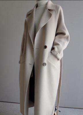 Womens Wool Blend Lapel Trench Coats Cashmere Outwear Long Loose Warm Jackets