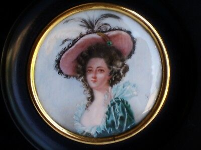 ANTIQUE MINIATURE PORTRAIT OF Madame LOUISE ELISABETH OF FRANCE PAINTING SIGNED
