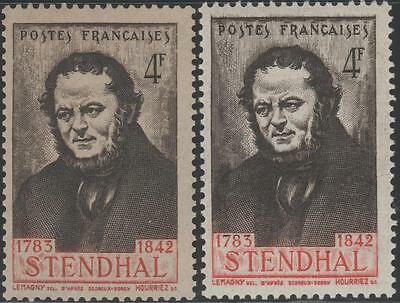 "FRANCE STAMP TIMBRE YVERT 550 "" STENDHAL BELLE VARIETE COULEUR "" NEUFS xx LUXE"
