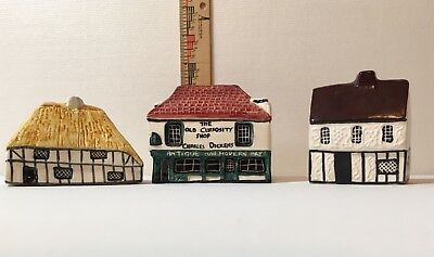 Mudlen End Miniature House England, Tey Pottery, Old Curiosity Shop Lot of 3