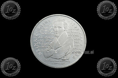 GERMANY 10 MARK 1997 D ( HEINRICH HEINE ) SILVER Commemor. Coin (KM# 190) aUNC