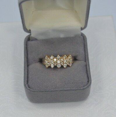 Exquisite Vintage 14K Yellow Gold .65TCW Diamond Cluster Ring Size 9.25  #M