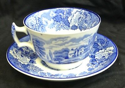 English Scenery Blue Cup & Saucer Enoch Wood & Sons England Blue Transferware