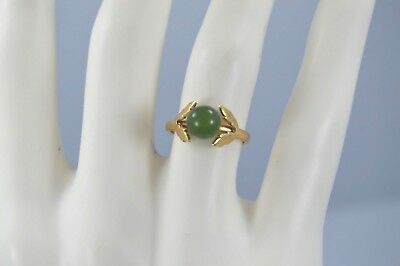 Exquisite Vintage 14K Yellow Gold Jade Leaf Ring Size 4.25 #M